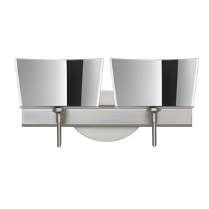 Groove Satin Nickel Two-Light Bath Fixture with Mirror-Frost Glass