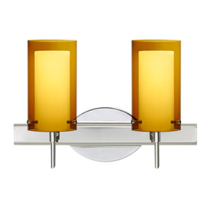 Pahu 4 Chrome Two-Light LED Bath Vanity with Transparent Armagnac Glass