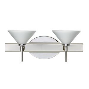Kona Chrome Two-Light LED Bath Vanity with White Glass