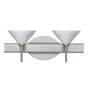 Kona Satin Nickel Two-Light LED Bath Vanity with White Glass