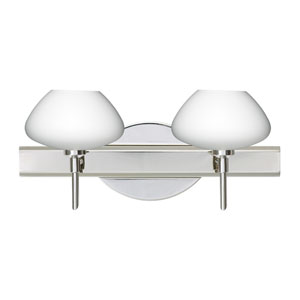 Peri Chrome Two-Light LED Bath Vanity with Opal Matte Glass