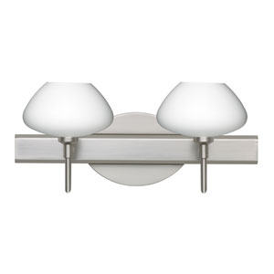 Peri Satin Nickel Two-Light LED Bath Vanity with Opal Matte Glass
