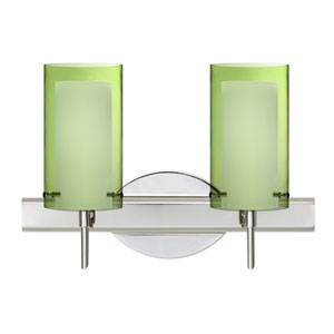 Pahu 4 Chrome Two-Light LED Bath Vanity with Transparent Olive Glass