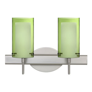 Pahu 4 Satin Nickel Two-Light LED Bath Vanity with Transparent Olive Glass