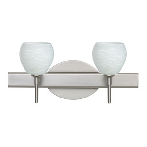 Tay Tay Satin Nickel Two-Light LED Bath Vanity with Cocoon Glass