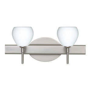 Tay Tay Satin Nickel Two-Light LED Bath Vanity with Opal Matte Glass