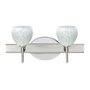 Tay Tay Chrome Two-Light LED Bath Vanity with Carrera Glass