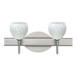 Tay Tay Satin Nickel Two-Light LED Bath Vanity with Carrera Glass