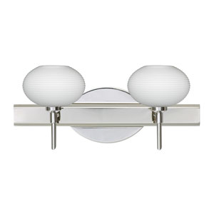 Lasso Chrome Two-Light LED Bath Vanity with Opal Matte Glass