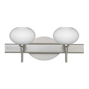 Lasso Satin Nickel Two-Light LED Bath Vanity with Opal Matte Glass