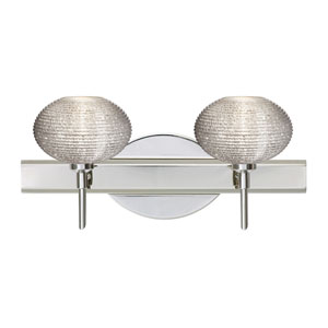 Lasso Chrome Two-Light LED Bath Vanity with Glitter Glass