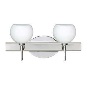 Palla 5 Chrome Two-Light LED Bath Vanity with Opal Matte Glass