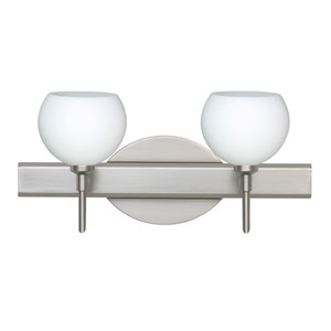 Palla 5 Satin Nickel Two-Light LED Bath Vanity with Opal Matte Glass