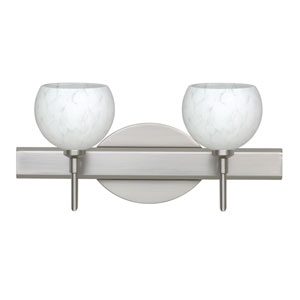 Palla 5 Satin Nickel Two-Light LED Bath Vanity with Carrera Glass