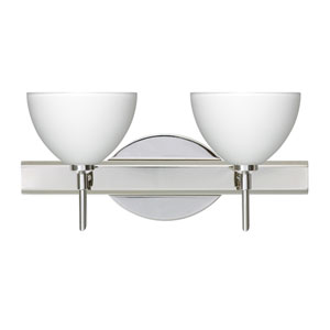 Brella Chrome Two-Light LED Bath Vanity with White Glass