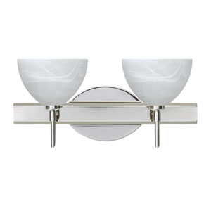 Brella Chrome Two-Light LED Bath Vanity with Marble Glass