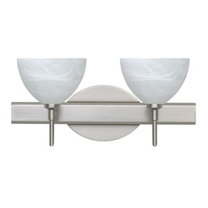 Brella Satin Nickel Two-Light LED Bath Vanity with Marble Glass
