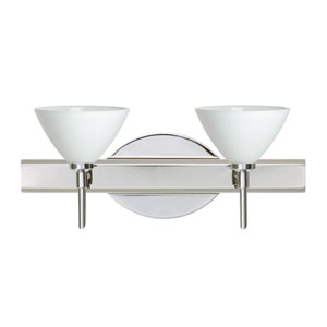 Domi Chrome Two-Light LED Bath Vanity with White Glass