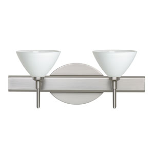 Domi Satin Nickel Two-Light LED Bath Vanity with White Glass