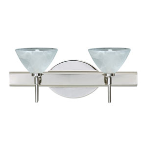 Domi Chrome Two-Light LED Bath Vanity with Marble Glass