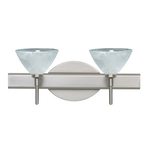 Domi Satin Nickel Two-Light LED Bath Vanity with Marble Glass