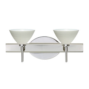 Domi Chrome Two-Light LED Bath Vanity with Chalk Glass