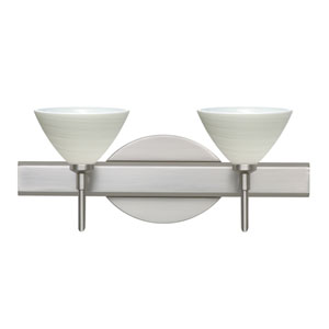 Domi Satin Nickel Two-Light LED Bath Vanity with Chalk Glass