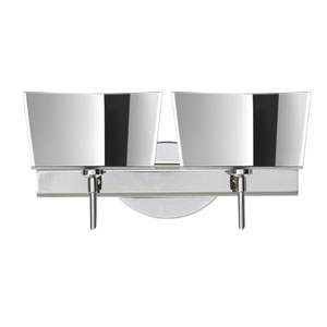 Groove Chrome Two-Light LED Bath Vanity with Mirror-Frost Glass