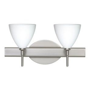 Mia Satin Nickel Two-Light LED Bath Vanity with Opal Matte Glass
