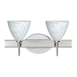 Mia Chrome Two-Light LED Bath Vanity with Carrera Glass
