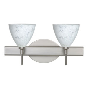 Mia Satin Nickel Two-Light LED Bath Vanity with Carrera Glass