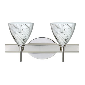 Mia Chrome Two-Light LED Bath Vanity with Marble Grigio Glass