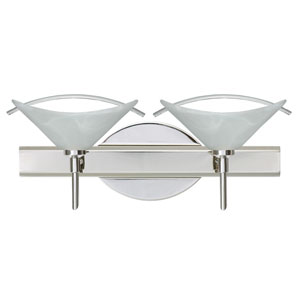 Hoppi Chrome Two-Light LED Bath Vanity with Marble Glass and Arched Rod Accent