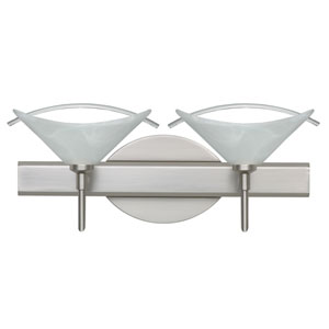Hoppi Satin Nickel Two-Light LED Bath Vanity with Marble Glass and Arched Rod Accent