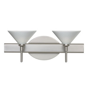 Kona Satin Nickel Two-Light LED Bath Vanity with White Starpoint Glass