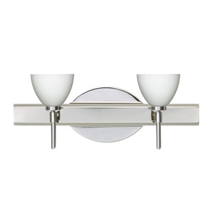 Divi Chrome Two-Light LED Bath Vanity with Opal Matte Glass