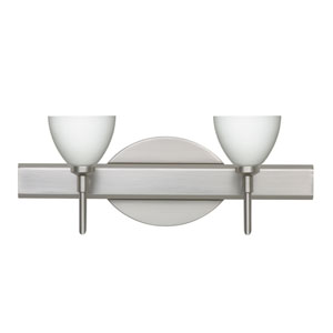 Divi Satin Nickel Two-Light LED Bath Vanity with Opal Matte Glass