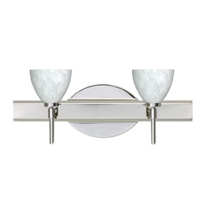 Divi Chrome Two-Light LED Bath Vanity with Carrera Glass