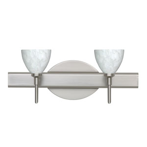 Divi Satin Nickel Two-Light LED Bath Vanity with Carrera Glass