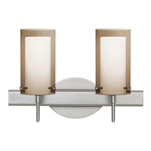 Pahu 4 Satin Nickel Two-Light Bath Vanity with Transparent Smoke Glass