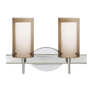 Pahu 4 Chrome Two-Light Bath Vanity with Transparent Smoke Glass
