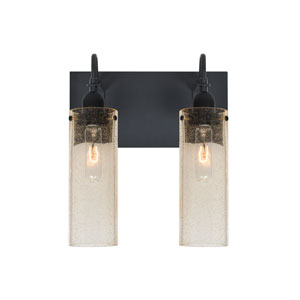 Juni Black Two-Light Vanity with Gold Bubble Shade