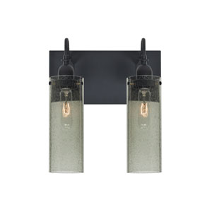 Juni Black Two-Light Vanity with Moss Bubble Shade