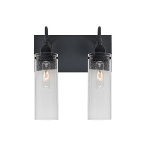 Juni Black Two-Light Vanity with Clear Bubble Shade