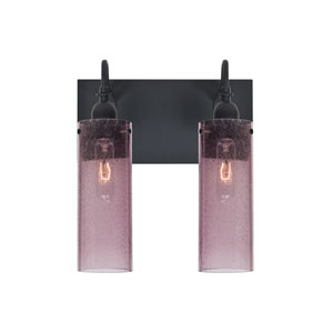 Juni Black Two-Light Vanity with Plum Bubble Shade