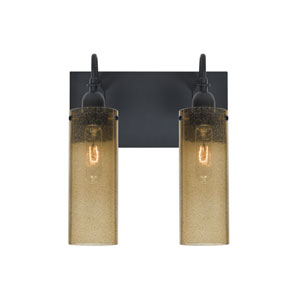 Juni Black Two-Light Vanity with Latte Bubble Shade