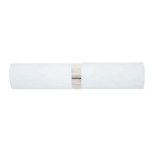 Darci Satin Nickel Two-Light Bath Fixture with Opal Matte Glass