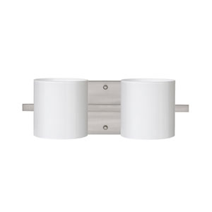 Pogo Satin Nickel Two-Light Bath Fixture with Opal Glossy Glass