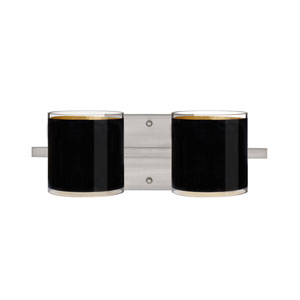 Pogo Satin Nickel Two-Light Bath Fixture with Black and Inner Gold Glass