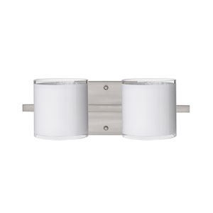 Pogo Satin Nickel Two-Light Bath Fixture with White and Inner Silver Glass